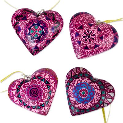 4 Zapotec Hand Painted Fuchsia Wood Heart Ornaments