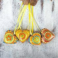 Wood ornaments, 'Yellow Zapotec Heart' (set of 4) - 4 Zapotec Hand Painted Yellow Wood Heart Ornaments