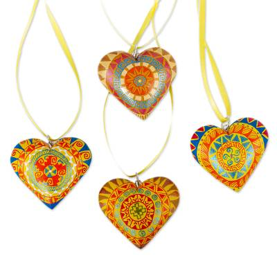 4 Zapotec Hand Painted Yellow Wood Heart Ornaments