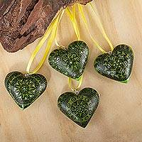 Wood ornaments, 'Green Zapotec Heart' (set of 4) - 4 Zapotec Hand Painted Green Wood Heart Ornaments