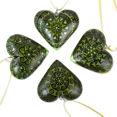 4 Zapotec Hand Painted Green Wood Heart Ornaments