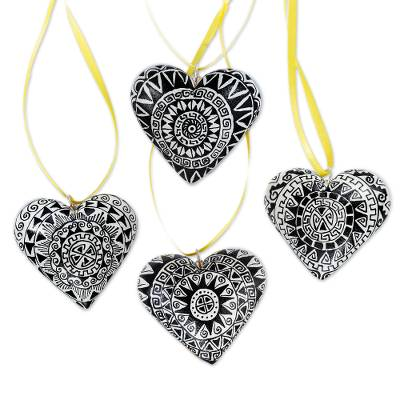 Wood ornaments, 'Zapotec Heart' (set of 4) - 4 Zapotec Hand Painted Black and White Wood Heart Ornaments