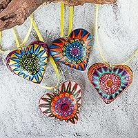 Wood ornaments, 'Zapotec Star Heart' (set of 4)