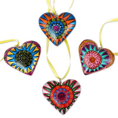 Wood ornaments, 'Zapotec Star Heart' (set of 4) - 4 Zapotec Hand Painted Colorful Wood Heart Ornaments