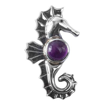 Amethyst Seahorse Pendant from Mexico