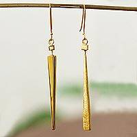 Gold plated dangle earrings, 'Modern Confluence' - Gold Plated Contemporary Long Dangle Earrings