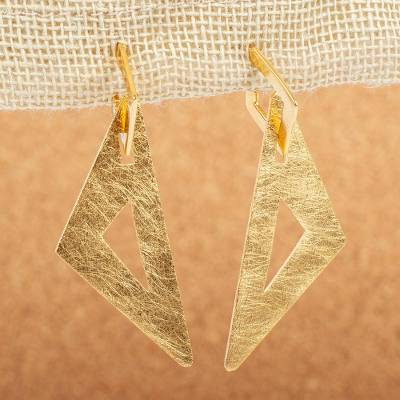 Gold plated dangle earrings, 'Bold Angles' - Artisan Designed 14k Gold Plated Dangle Earrings