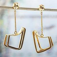 Gold plated dangle earrings, 'Modern Geometry' - Gold Plated Contemporary Dangle Earrings