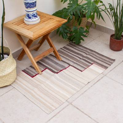Wool area rug, 'Earthen Steps' (2x3.25) - Versatile Neutral Hand Woven Geometric Area Rug (2x3.25)