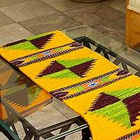 Wool table runner, 'Oaxacan Winds' - Natural Dyes Hand Loomed Wool Table Runner