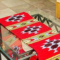 Wool table runner, 'Red Mesa' - Red Wool Table Runner Hand Loomed in Mexico