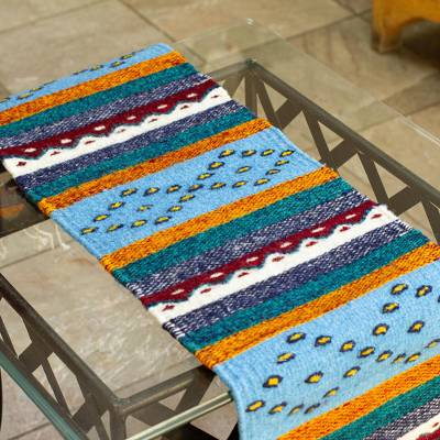 Wool table runner, 'Oaxacan Hills' - Multicolored Hand Loomed Wool Table Runner