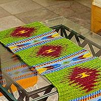Wool table runner, 'Oaxacan Valley' - Wool Table Runner Hand Loomed in Mexico