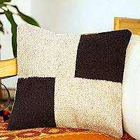 Wool cushion cover, 'Oaxacan Blocks'