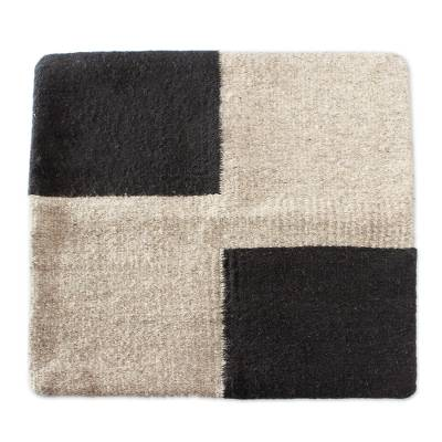 Black and Pale Taupe Colorblock Wool Cushion Cover