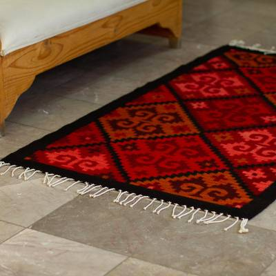 Wool area rug, 'Crimson Fretwork' (2.5x5) - Red and Black Fretwork Hand Woven Wool Area Rug (2.5x5)