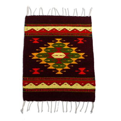 Wool table mat, 'Teotitlan Pride' - All Wool Hand Loomed Table Mat from Oaxaca
