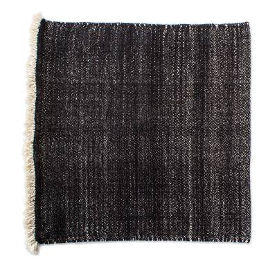 Wool cushion cover, 'Black Diamond' - All Wool Black and Oatmeal Cushion Cover