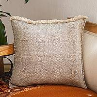 Wool cushion cover, 'Stone and Sand' - Diamond Pattern Grey and Beige Wool Cushion Cover