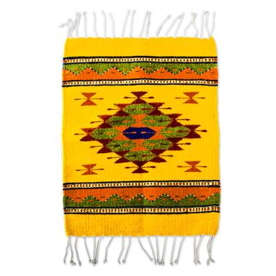 Zapotec wool table mat, 'Golden Eye' - Hand Loomed Zapotec Style Wool Table Mat