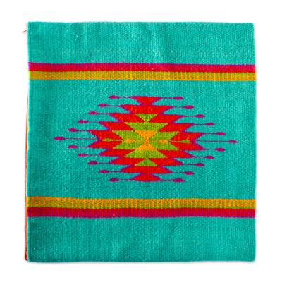 Wool cushion cover, 'Oaxacan Sunset' - Colorful Wool Hand Loomed Cushion Cover
