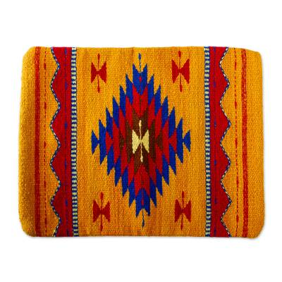 Wool cushion cover, 'Diamond Tradition' - Multicolored Zapotec Wool Cushion Cover