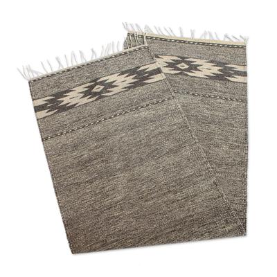 Wool runner, 'Subtle Shades' (2x6.5) - Hand Loomed Grey and Wheat Runner Rug (2x6.5)