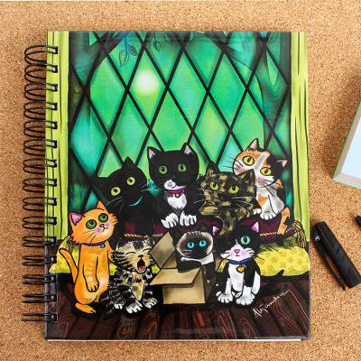 Art print journal, 'Kittens' - Kitten Themed Illustrated Cover Journal