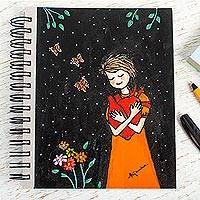 Art print journal, 'Alita's Heart' - Unique Art Print Journal from Mexican Artisan