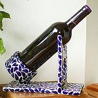 Ceramic bottle holder, 'Puebla Petals' - Hand Crafted Talavera Style Blue and White Bottle Holder