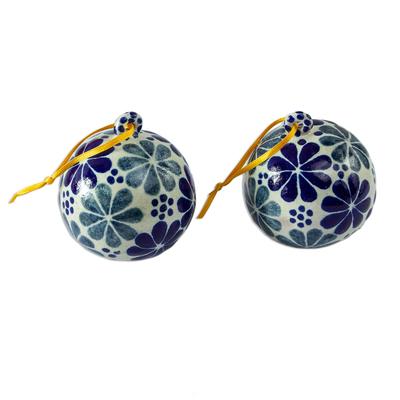 Artisan Crafted Talavera Style Holiday Ornaments (Pair)