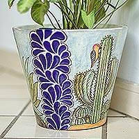 Ceramic planter, 'Puebla Flora' - Hand Painted Cactus Motif Ceramic Planter from Puebla