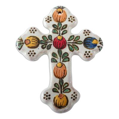 Colorful Hand Made Talavera Style Ceramic Wall Cross