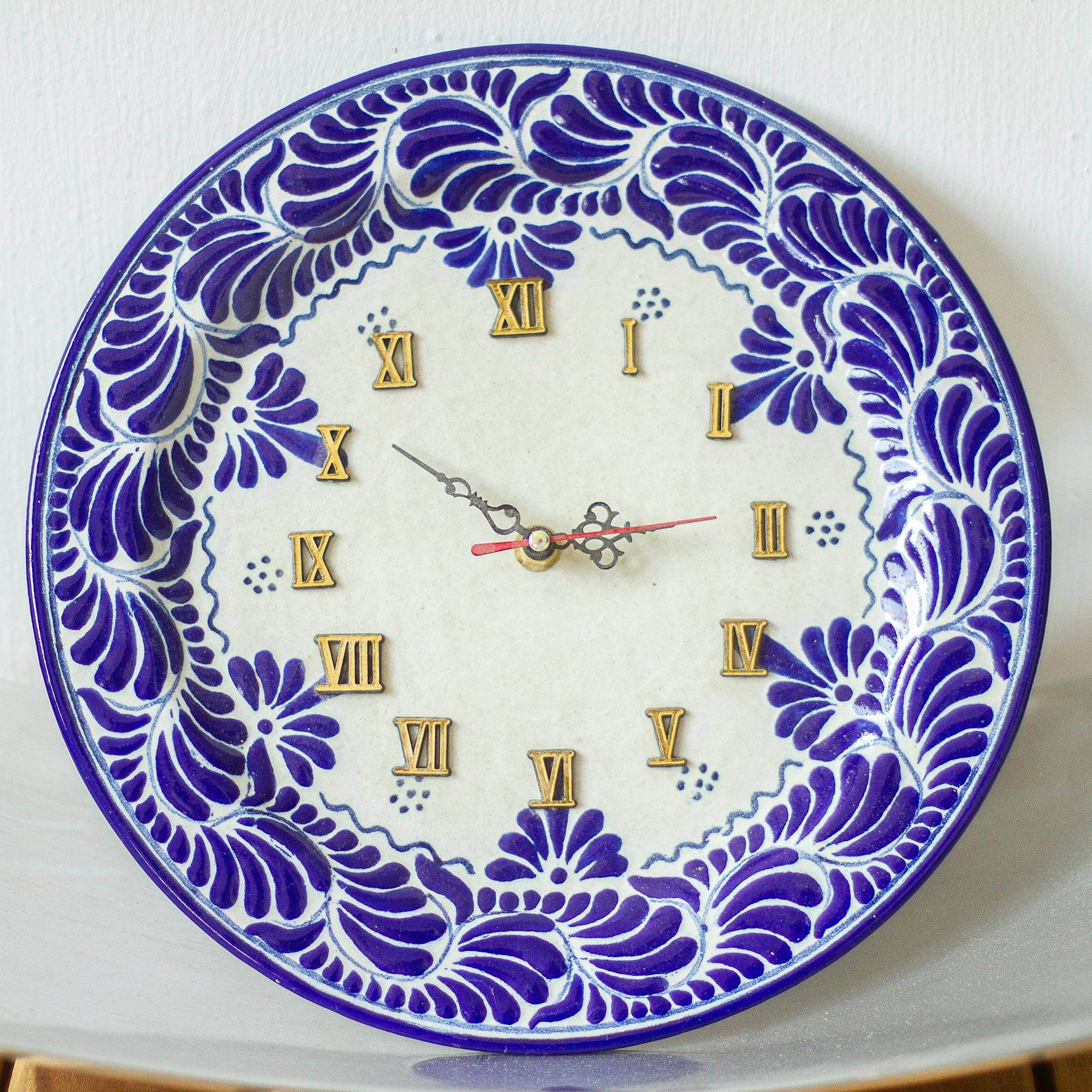 Hand Painted Talavera Cobalt Blue Wall Clock Talavera Blues Novica