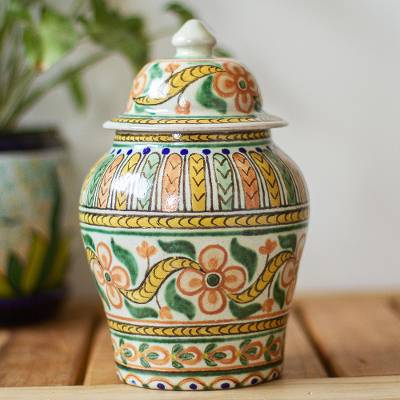 Decorative ceramic jar, 'Puebla Peach Blossoms' - Handmade Floral Talavera Style Decorative Ginger Jar