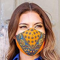 Cotton and polyester face masks 'Tangerine Bandana' (pair) - 2 Double Layer Orange & Blue Bandana Print Face Masks