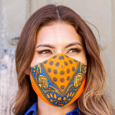 Cotton and polyester face masks, 'Tangerine Bandana' (pair) - 2 Double Layer Orange & Blue Bandana Print Face Masks