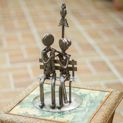 Recycled auto parts sculpture, 'Rustic Lovers' - Artisan Crafted Romantic Recycled Metal Sculpture