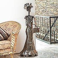 Recycled auto parts sculpture, 'Grand Catrina' - Extra Large Recycled Metal Catrina Sculpture