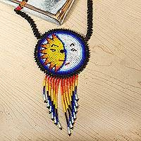 Beaded pendant necklace, 'Wirikuta Eclipse in White' - Glass Beaded Huichol Eclipse Pendant Necklace