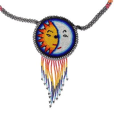 Beaded pendant necklace, 'Wirikuta Eclipse in White' - Glass Beaded Huichol Eclipse Pendant Necklace