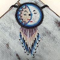Beaded pendant necklace, 'Wirikuta Eclipse in Blue' - Beaded Pendant Necklace from Huichol Artisan