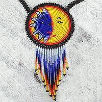 Beaded pendant necklace, 'Wirikuta Eclipse in Yellow' - Colorful Beaded Huichol Pendant Necklace
