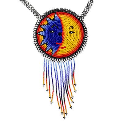 Beaded pendant necklace, 'Wirikuta Eclipse in Yellow' - Colorful Beaded Huichol Pendant Necklace