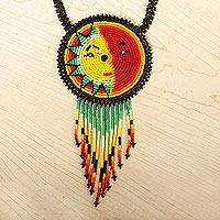 Beaded pendant necklace, 'Wirikuta Eclipse in Red' - Multicolored Beaded Eclipse Pendant Necklace