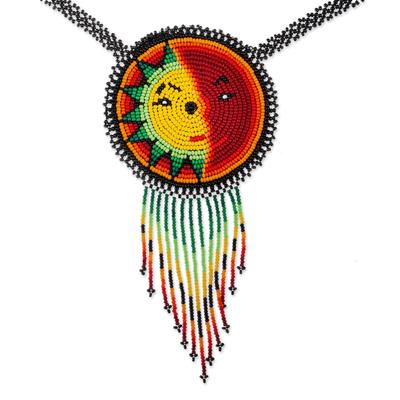 Beaded pendant necklace, 'Wirikuta Eclipse in Red' - Multicolored Beaded Eclipse Pendant Necklace