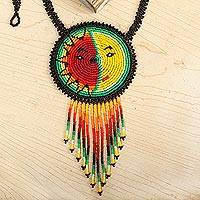 Beaded pendant necklace, 'Wirikuta Eclipse in Green' - Handmade Beaded Huichol Eclipse Pendant Necklace