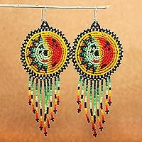 Beaded waterfall earrings, 'Wirikuta Sun' - Long Colorful Beaded Huichol Waterfall Earrings