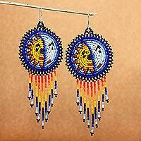 Beaded waterfall earrings, 'Wirikuta Eclipse in White' - Huichol Beaded Waterfall Earrings from Mexico