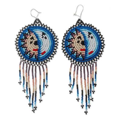 Beaded waterfall earrings, 'Wirikuta Eclipse in Blue' - Handmade Huichol Beaded Waterfall Earrings